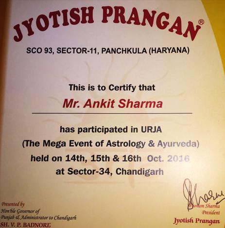 Jyotish Prangan Certificate and Award